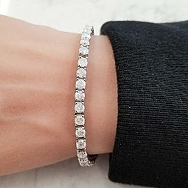 8.13 Carat Total Round Diamond 4 Prong Tennis Bracelet in 14 Karat White Gold
