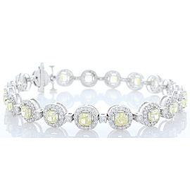 6.74 Carat Total Cushion Cut Fancy Yellow Diamond Bracelet in 18 Karat Gold