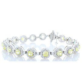 6.35 Carat Total Cushion Cut Yellow Diamond Bracelet in 18 Karat White Gold
