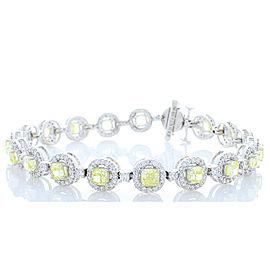 6.35 Carat Total Cushion Cut Yellow Diamond Bracelet in 18 Karat White Gold