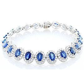13.70 Carat Oval Blue Sapphire and Diamond Bracelet in 18 Karat White Gold