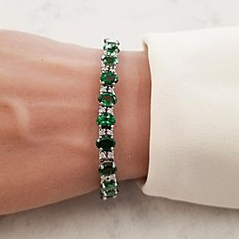 17.54 Carat Total Oval Tsavorite and Diamond Bracelet in 14 Karat White Gold