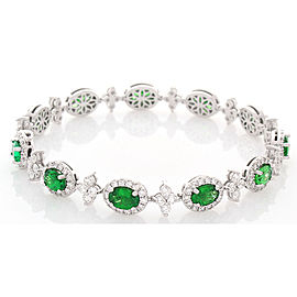7.56 Carat Total Oval Tsavorite and Diamond Bracelet in 18 Karat White Gold