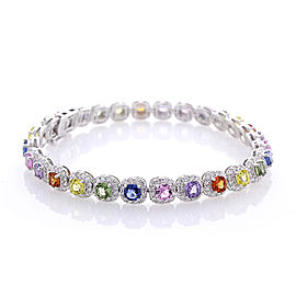 10.10 Carat Total Multi-Color Sapphire and Diamond Bracket in 18 Karat Gold