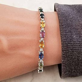 11.97 Carat Total Multi-Color Oval Sapphire & Diamond Bracelet in 14 Karat Gold
