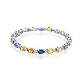 11.72 Carat Total Multi Color Oval Sapphire & Diamond Bracelet In 14K White Gold