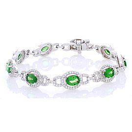 7.53 Carat Total Oval Tsavorite and Diamond Bracelet in 14 Karat White Gold
