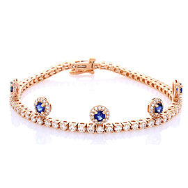 1.40 Carat Total Blue Sapphire and Diamond Bracelet in 18 Karat Rose Gold