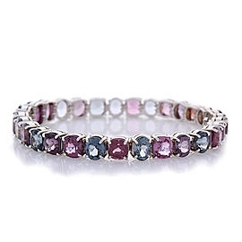 39.20 Carat Total Cushion Cut Spinel Bracelet in 18 Karat White Gold
