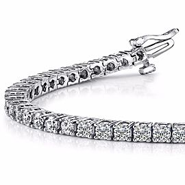 2.20 Carat Total Round Diamond 4 Prong Tennis Bracelet in 14 Karat White Gold