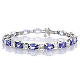 11.10 Carat Total Oval Tanzanite and Diamond Bracelet in 18 Karat White Gold