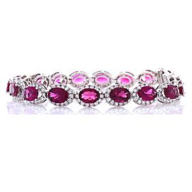 12.20 Carat Total Oval Rubelite and Diamond Bracelet in 18 Karat White Gold