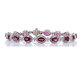 5.49 Carat Total Oval Rubelite and Diamond Bracelet in 18 Karat White Gold