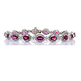 5.43 Carat Total Oval Rubelite and Diamond Bracelet in 18 Karat White Gold