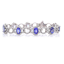7.56 Carat Total Oval Tanzanite and Diamond Bracelet in 18 Karat White Gold
