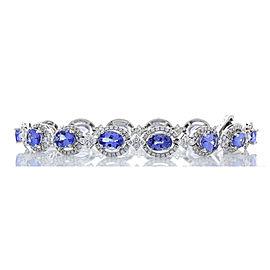 11.03 Carat Total Oval Tanzanite and Diamond Tennis Bracelet in 18 Karat Gold