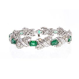 9.43 Carat Total Emerald Cut Emerald and Diamond Bracelet in 18 Karat White Gold