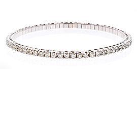 3.01 Carat Total Diamond Stretchable Bracelet in 18 Karat White Gold