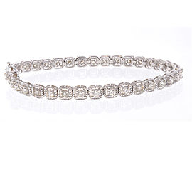 3.20 Carat Total Diamond Bracelet in 14 Karat White Gold