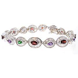 10.50 Carat Total Mixed Gemstone and Baguette Diamond Bracelet in 14 Karat Gold