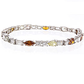 14.26 Carat Total Fancy Assorted Diamond Tennis Bracelet in 18 Karat White Gold