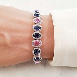 20.81 Carat Total Natural Blue and Pink Sapphire Bracelet in 18 Karat White Gold