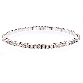 2.01 Carat Total Diamond Stretchable Bracelet in 18 Karat White Gold
