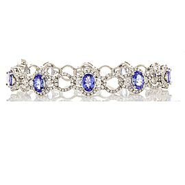 7.50 Carat Total Oval Tanzanite and Diamond Bracelet in 18 Karat White Gold