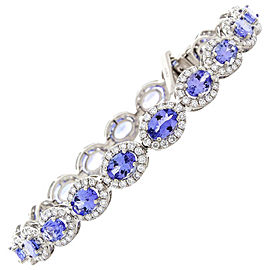12.50 Carat Total Oval Tanzanite and Diamond Bracelet in 18 Karat White Gold