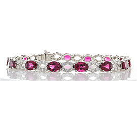 9.25 Carat Total Oval Rubelites and Diamond Bracelet in 18 Karat White Gold