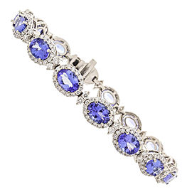 12.90 Carat Total Oval Tanzanites and Diamond Bracelet in 18 Karat White Gold