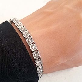 6.30 Carat Total Diamond Bracelet in 14 Karat White Gold