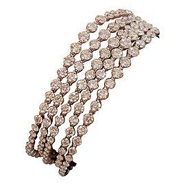 14.82 Carat Total Diamond Multi Strand Bracelet in 14 Karat White Gold