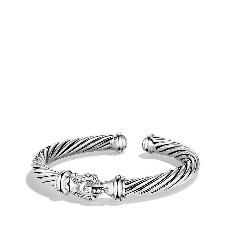 David Yurman Sterling Silver 0 18ct Diamond Cable Clics Buckle Bracelet