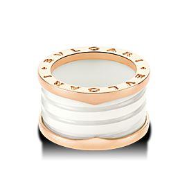 Bulgari B. Zero 1 18K Rose Gold & White Ceramic 4 Band Ring Size: 6