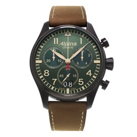 Alpina Startimer Pilot Big Date (Green Dial) PVD Coated Stainless Steel 44 mm Mens Watch