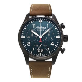 Alpina Startimer Pilot Big Date (Blue Dial Black Case) PVD Coated Stainless Steel 44 mm Mens Watch