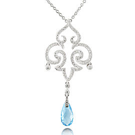 Blue Topaz and Diamond Pendant 3/4 Carat (ctw) in 18k White Gold