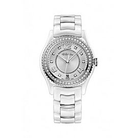 Ebel X-1 White Ceramic Diamond & Stainless Steel Bezel 34 mm Womens Watch