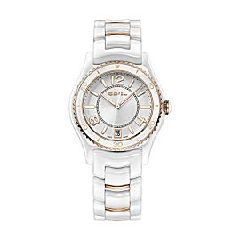 Ebel X-1 White Ceramic & Rose Gold Diamond Bezel 34 mm Womens Watch