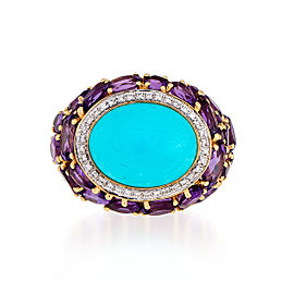 Le Vian Certified Pre-Owned Robin's Egg Turquoise, Grape Amethyst, and Vanilla Diamonds Ring set in 14k Honey Gold