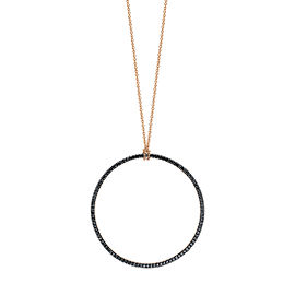 GINETTE NY 18K Rose Gold Black Diamond Circle On Chain