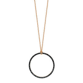 GINETTE NY 18K Rose Gold Baby Black Diamond Circle On Chain