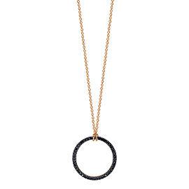 GINETTE NY 18K Rose Gold Mini Black Diamond Circle On Chain