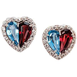 5.50 Carat Total Topaz, Garnet and Diamond Earring in 14 Karat White Gold