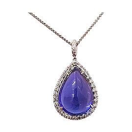 15.43 Carat Tanzanite and Diamond Pendant Necklace in 18 Karat White Gold