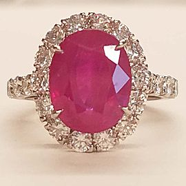 GIA Certified 5.17 Carat Oval Burma Ruby and Diamond Ring in 18 Karat White Gold