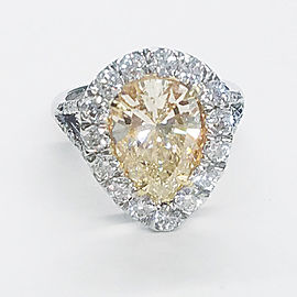 3.01 Carat Fancy Light Pear Shape Diamond Cocktail Ring in 18 Karat White Gold