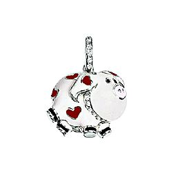 18 Karat White Gold, White Enamel Pig Charm with Red Hearts