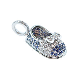 18 Karat White Gold, Sapphire & Diamond Shoe Charm